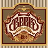 Ovaal etiket met ornamentinschrijving voor bier Royalty-vrije Stock Fotografie