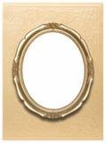 Ovaal frame op gouden behang Stock Afbeeldingen