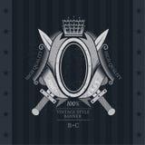 Ovaal Kader in Centrum tussen Dwarszwaarden en lint Uitstekend Etiket met Wapenschild Royalty-vrije Stock Afbeelding