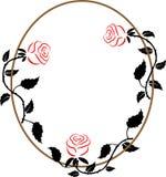 Ovaal kader met de drie rozen Stock Afbeelding