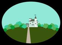 Ovaal met idyllisch landschap Kasteel in retro stijl, struiken en groen gras op een heuvel stock illustratie