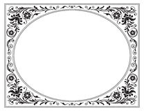 Ovaal overladen zwart kader met bloemenpatroon Royalty-vrije Stock Foto