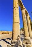 Ovaal Plein 160 Ionische Kolommen Oud Roman City Jerash Jordan Royalty-vrije Stock Afbeelding