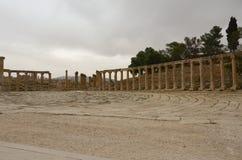 Ovaal Plein, Jerash Stock Afbeeldingen