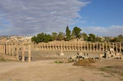 Ovaal Plein, Jerash Royalty-vrije Stock Foto's