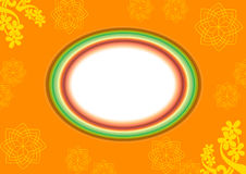 Oval abstract frame. An oval blank frame on an orange background with yellow digital floral art vector illustration