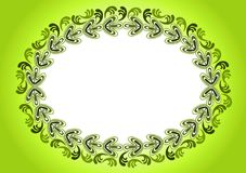 Oval Ancient Leafs Border Frame. Border frame with ancient style leafs forming an horizontal oval. Green background Royalty Free Stock Photography