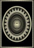 Oval antik ram med korset. Royaltyfri Bild