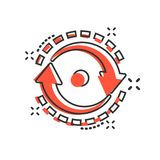 Oval with arrows icon in comic style. Consistency repeat vector cartoon illustration on white isolated background. Reload rotation. Business concept splash royalty free illustration
