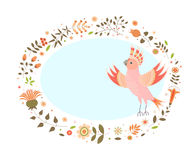 Oval background for text with a decorative image of a parrot, flowers, plants, leaves and small circles. Royalty Free Stock Image