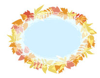 Oval background for text with the image of autumn leaves of different trees. Royalty Free Stock Photography