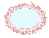 Oval background for text with a silhouette image of the leaves of different trees. Stock Photography