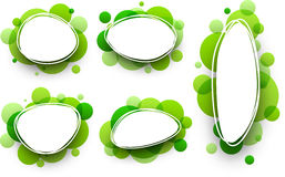 Oval backgrounds with green bubbles. Paper oval white backgrounds set with green bubbles. Vector illustration Stock Photography