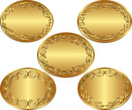 Oval backgrounds. Set of golden oval backgrounds Stock Photo