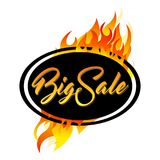 Oval balck frame with Big Sale. And fire Royalty Free Stock Photo
