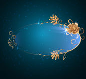 Oval banner with gold. Rose, glossy label on a dark background Royalty Free Stock Photography