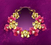 Oval banner with orchids Stock Photography