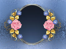 Oval banner with pink roses Royalty Free Stock Photos