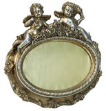 Oval baroque gold fhoto frame with cupid on isolated background royalty free stock image