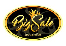 Oval black tag with Big Sale. And fire Stock Photo