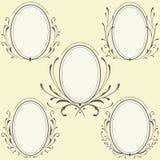 Oval blom- ramprydnad vektor illustrationer