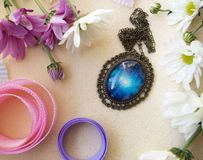 Oval blue pendant Stock Images