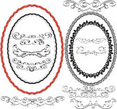 Oval borders. Four oval borders and decorating Stock Photography