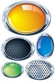 Oval brilhante do cromo em várias cores e texturas Fotos de Stock