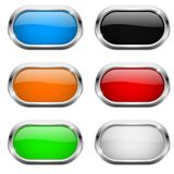 Oval buttons. Glass colored icons with chrome frame. Vector 3d illustration vector illustration
