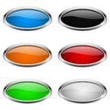 Oval buttons. Glass colored icons with chrome frame. Vector 3d illustration stock illustration