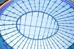 Oval ceiling. The metal and glass roof of a mall Royalty Free Stock Images