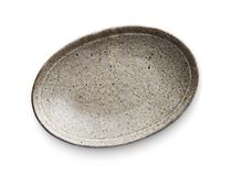 Oval ceramic plate, Empty plate with granite texture, View from above isolated on white background with clipping path. Oval ceramic plate, Empty plate with stock photography