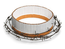 Oval cigarette protection behind a barbed wire Stock Photos