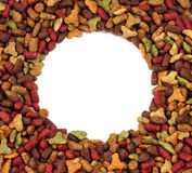 Oval or circular frame of pet (dog or cat) food for background use Stock Photo