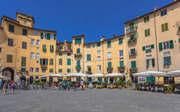 Oval City Square in Lucca Stock Photo