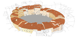 Oval City Square in Lucca, Italy. Urban sketch Royalty Free Stock Images