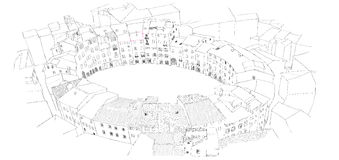 Oval City Square in Lucca, Italy. Urban sketch Royalty Free Stock Photos
