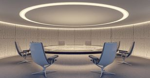 Oval conference room with round table and chairs stock photography