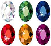 Oval cut precious stones with sparkle. Illustration of oval cut precious stones with sparkle isolated on white Stock Photo