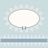 Oval doily frame with lacy border. Country style. For baby shower, menu, scrapbook design. Royalty Free Stock Photos