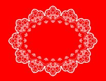 Oval doily lace design place mat stock photography