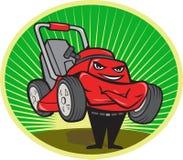 Oval dos desenhos animados do homem da segadeira de gramado Imagens de Stock Royalty Free