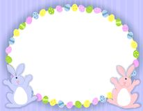 Oval Easter Eggs Frame. A background illustration featuring a white oval frame with decorative easter eggs set against blue  striped background and two Easter Royalty Free Stock Photos