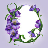 Beautiful lilac spring flowers. Easter egg frame Royalty Free Stock Photo