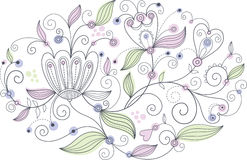 Oval floral pattern. For your greeting card or other design Royalty Free Stock Photography