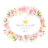 Oval floral vector design frame. Orchid, rose, camellia flowers and fresh green leaves Royalty Free Stock Images