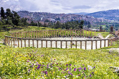 The Oval Forum colonnade in ancient Jerash, Jordan Stock Images
