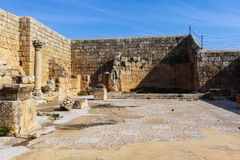 Oval forum, Roman ruins in the city of Jerash. The Roman city of Gerasa and the modern Jerash,  Jordan Royalty Free Stock Photo