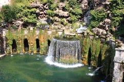 Oval Fountain in Villa d'Este Stock Photos