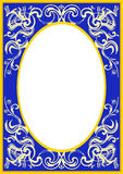 Oval frame_002. An oval frame inside a blue ornamented rectangle Royalty Free Stock Photo